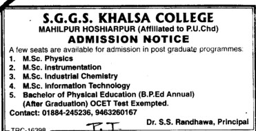 MSc and BPED Courses (SGGS Khalsa College)