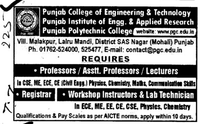 Professor, Asstt Professor and Lecturers (Punjab College of Engineering and Technology)