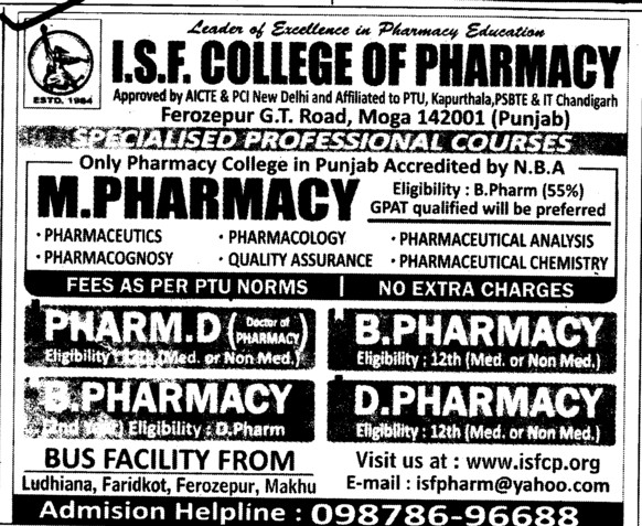 M Pharmacy, B Pharmacy and D Pharmacy Courses etc (ISF College of Pharmacy)