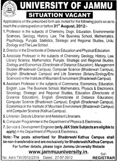 Professor, Director, Librarian and Asstt Librarian etc (Jammu University)