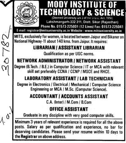 Librarian, Asstt Librarian, Network Asstt and Officer Asstt etc (Modi University of Science and Technology (MITS))