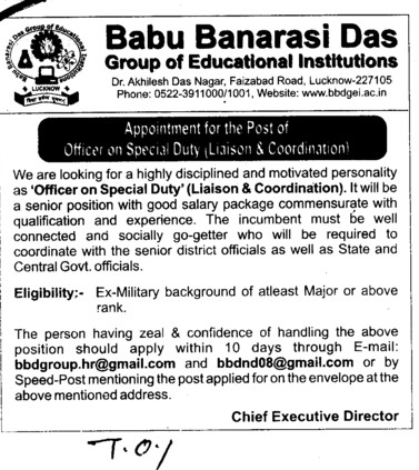 Officer on Special Duty (Babu Banarasi Das Group of Educational Insitutions)