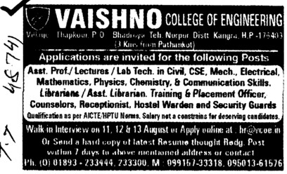Asstt Professor, Lecturers and Librarians etc (Vaishno College of Engineering)