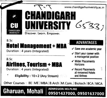 MBA in Hotel Management and Airlines Tourism (Chandigarh University)