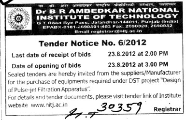 Purchase of various types of Equipments (Dr BR Ambedkar National Institute of Technology (NIT))