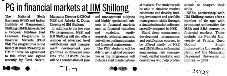 PG in financial markets at IIM Shillong (Rajiv Gandhi Indian Institute of Management (RGIIM))