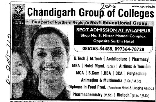 BTech, MTech, BBA and BCA Courses etc (Chandigarh Group of Colleges)