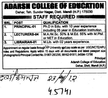 Principal, Lecturer and Librarian (Adarsh College Of Education)