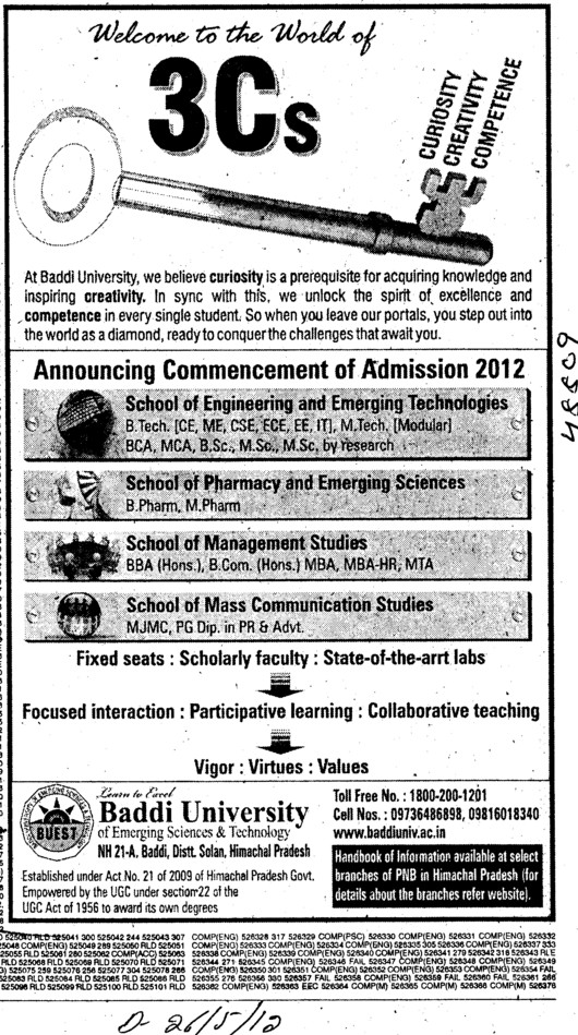 BTech, B Pharm, M Pharm and MJMC Courses etc (Baddi University of Emerging Sciences and Technologies)
