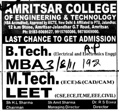 BTech, Mtech and MBA Courses (Amritsar College of Engineering and Technology ACET Manawala)