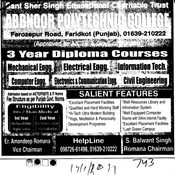 3 years Diploma course in BTech (Abbnoor Polytechnic College)