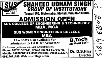 MBA and MCA Courses (SUS Group of Institutions)