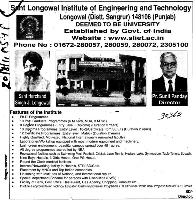 Message of Director Professor Sunil Panday (Sant Longowal Institute of Engineering and Technology SLIET)