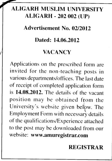 Post in the various departments (Aligarh Muslim University (AMU))