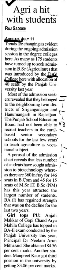 Agri a hit with Students (DAV College)
