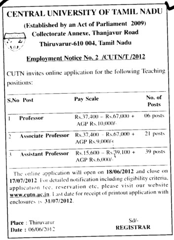Professor, Asstt Professor and Associate Professor etc (Central University of Tamil Nadu (CUTN))