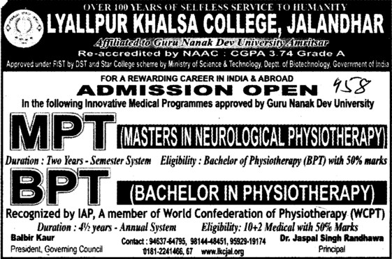 BPT and MPT Courses (Lyallpur Khalsa College of Boys)