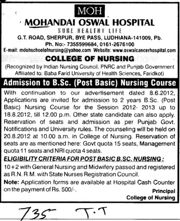 BSc Nursing Course (Mohan Dai Oswal College of Nursing)