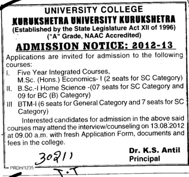 BSc and MSc Courses (Kurukshetra University)