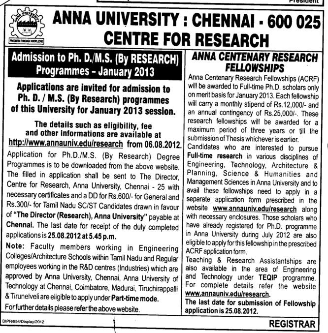 PhD and MS Courses (Anna University)