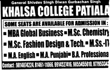 MA, MBA and MSc Courses etc (Khalsa College)