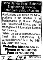 Faculty on adhoc basis (Baba Banda Singh Bahadur Engineering College (BBSBEC))