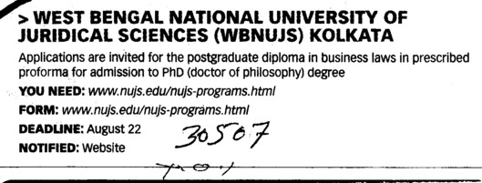Post Graduate Diploma in Business Law (West Bengal National University of Juridical Sciences)