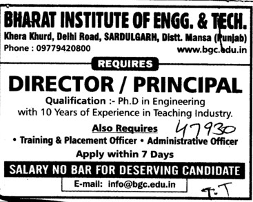 Director and Principal (Bharat Institute of Engineering and Technology (BIET))