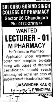 Lecturer for M Pharmacy (Sri Guru Gobind Singh College of Pharmacy (Sector 26))