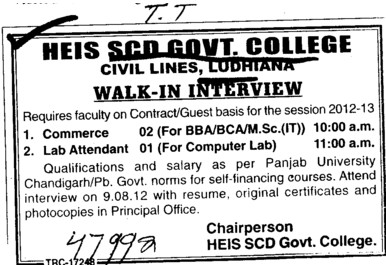 Faculty on Contract and Guest basis (SCD Govt College)