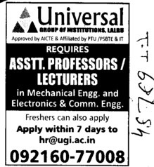 Asstt Professor and Lecturer (Universal Group of Institutions)