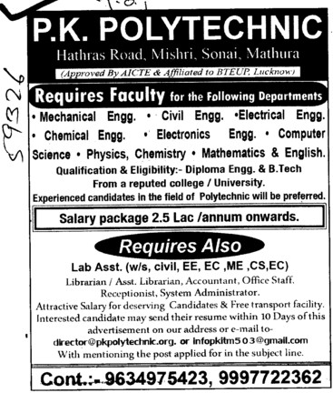 Faculty for Btech and Lab Asstt (PK Polytechnic)