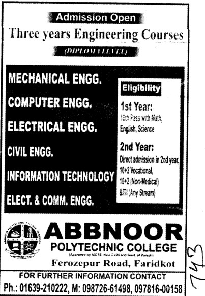 BTech in various streams (Abbnoor Polytechnic College)