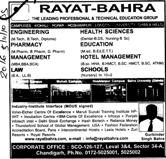 B Tech, M Tech and LLB Courses etc (Rayat and Bahra Group)