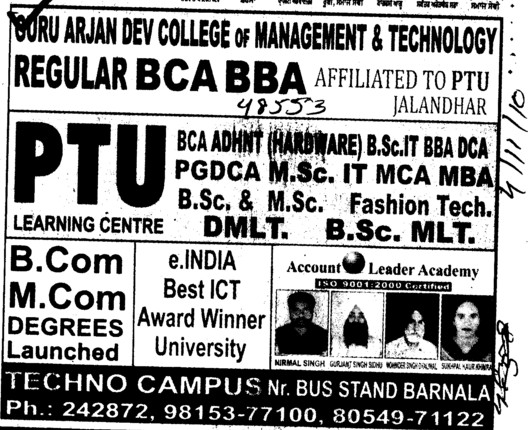 B Com and M Com Courses (Guru Arjun Dev College of Management and Technology)