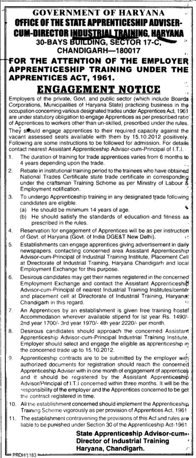 Engagement Notice (Department of Industrial Training and Vocational Education Haryana)
