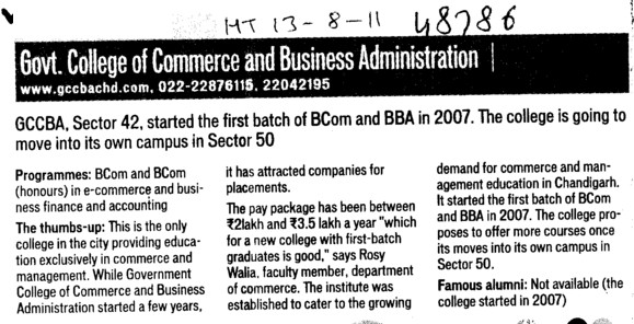 BCom and BBA Courses (Government College of Commerce and Business Administration (Sector 42))