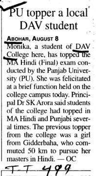 PU topper a local DAV Student (DAV College)