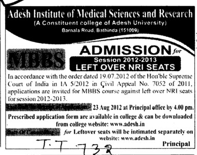 Few seats left in MBBS (Adesh Institute of Medical Sciences and Research)