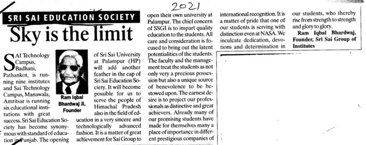 Sky is the Limit (Sri Sai Group of Instituties (SSGI))