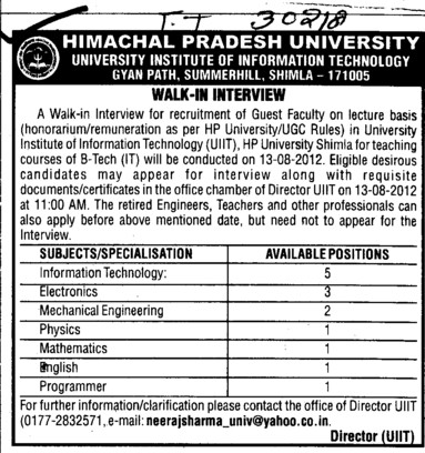 Guest Faculty Lecturer on regular basis (Himachal Pradesh University)