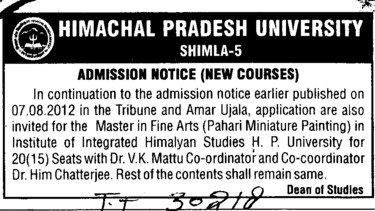 Master in Fine Arts (Himachal Pradesh University)