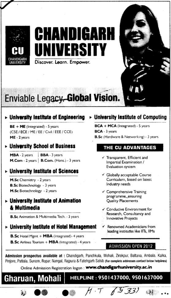 BE, ME, BBA, MBA and MSc Courses etc (Chandigarh University)