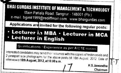Lecturer in MBA and MCA etc (Bhai Gurdas Institute of Management and Technology (BGIMT))