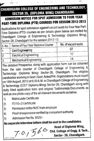 Four years Part time Diploma Course (Chandigarh College of Engineering and Technology (CCET))
