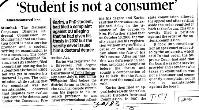 Student is not a Consumer (Delhi University)