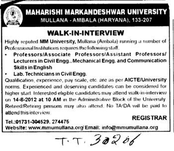 Professor, Asstt Professor and Lecturer etc (Maharishi Markandeshwar University)