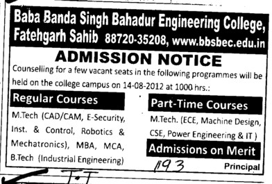 MTech on regular and part time courses (Baba Banda Singh Bahadur Engineering College (BBSBEC))