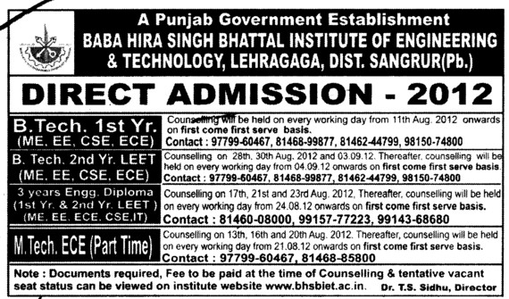 BTech and MTech Courses (Baba Hira Singh Bhattal Institute of Engineering and Technology (BHSBIET))