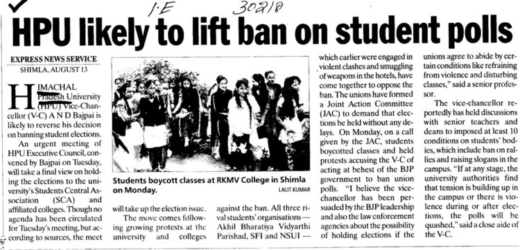 HPU likely to lift ban on student polls (Himachal Pradesh University)